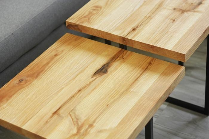stolik debowy bogdany012 Podwójne stoliki kawowe   bliźniaki