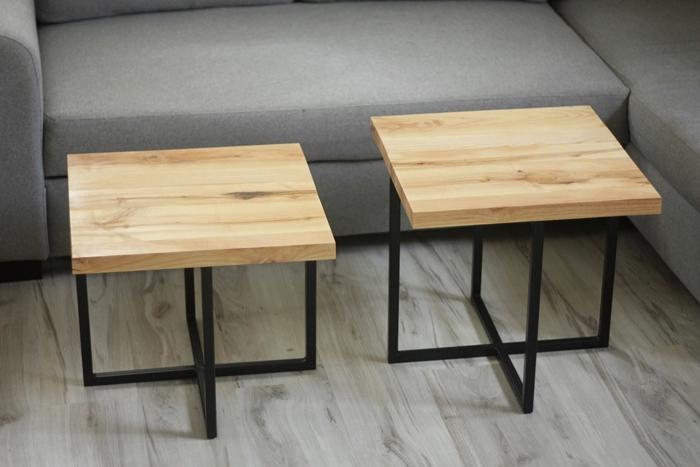 stolik debowy bogdany018 Podwójne stoliki kawowe   bliźniaki