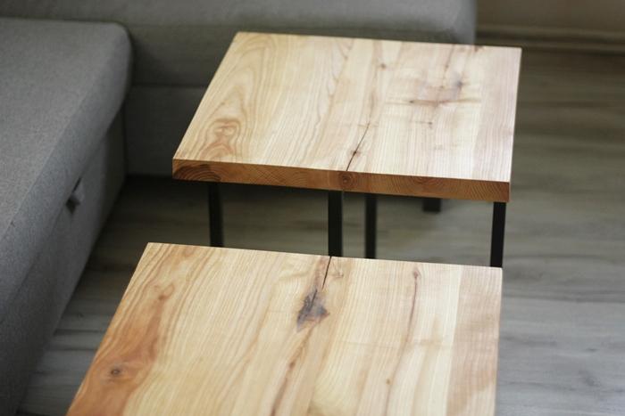 stolik debowy bogdany020 Podwójne stoliki kawowe   bliźniaki