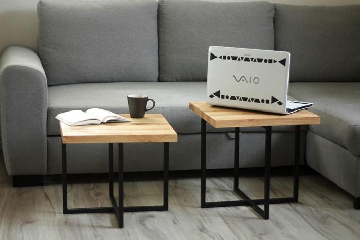 stolik debowy bogdany021 Podwójne stoliki kawowe   bliźniaki