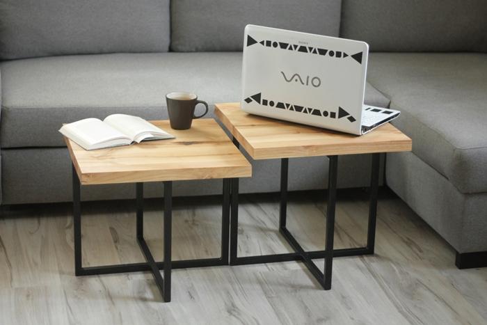 stolik debowy bogdany022 Podwójne stoliki kawowe   bliźniaki