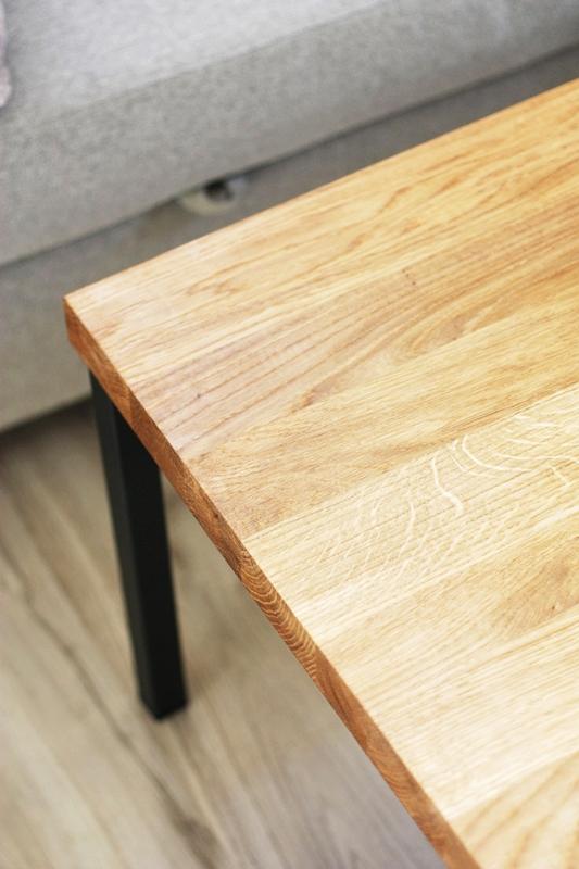 stolik debowy007a Duży stolik kawowy / proste nogi