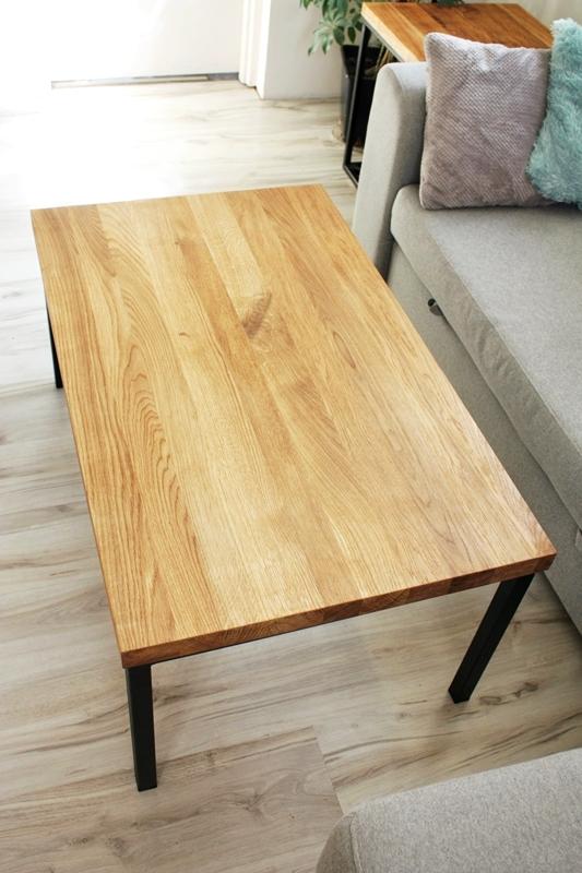 stolik debowy008a Duży stolik kawowy / proste nogi