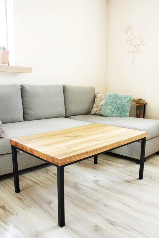 stolik debowy011a Duży stolik kawowy / proste nogi