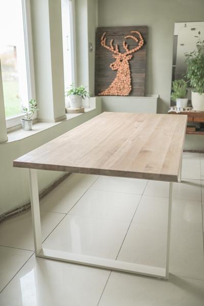 stol debowy chowany008 Rustykalny, szczotkowany, bielony stół dębowy