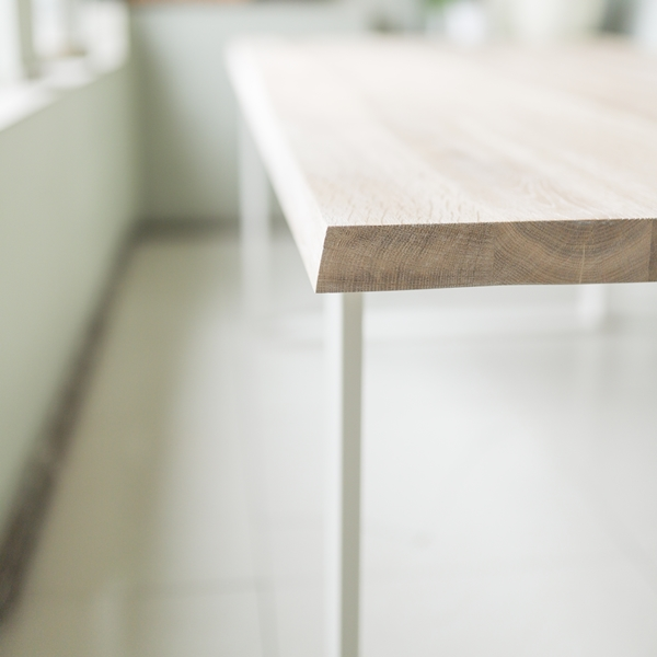 stol debowy chowany010 Rustykalny, szczotkowany, bielony stół dębowy