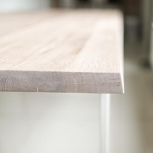 stol debowy chowany011 Rustykalny, szczotkowany, bielony stół dębowy