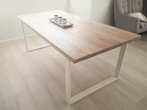 stol debowy chowany012 Rustykalny, szczotkowany, bielony stół dębowy