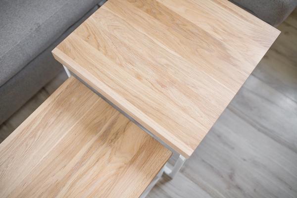 stolik debowy chowany011 Podwójnie klejony, chowany stolik kawowy z dębu