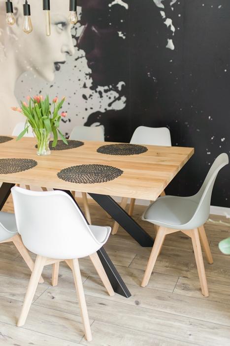 stol sskosne nogi012 Rustykalny stół dębowy skośne nogi