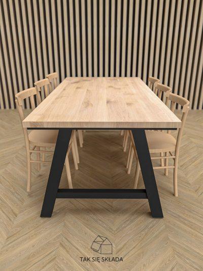 stół industrialny z solidną podstawą